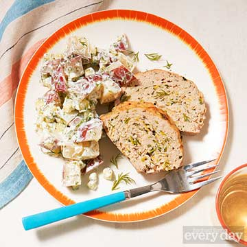 Herbed Chicken Meat Loaf with Tzatziki Potato Salad
