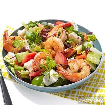 Greek Village Chunk Salad with Lemon-Oregano Shrimp