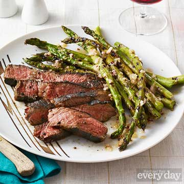 Grilled Steak and Asparagus with Stout Sauce