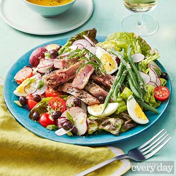 Grilled Tuna Nicoise Salad with Anchovy Dressing