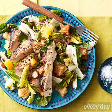 Sicilian Panzanella Salad with Grilled Swordfish