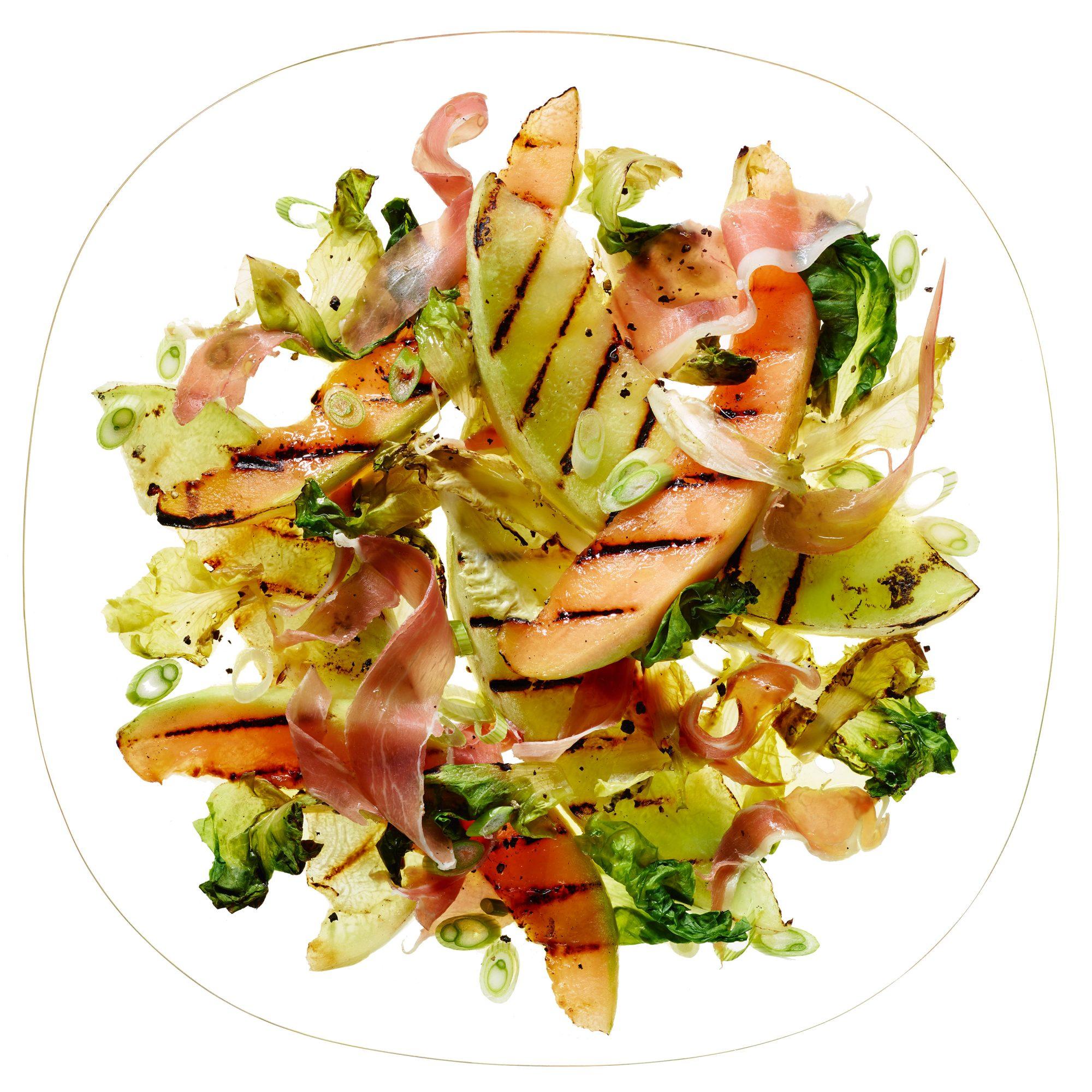 Grilled Melon & Escarole Salad with Prosciutto