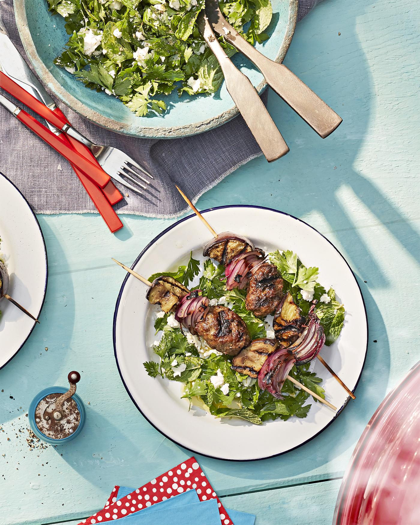Kofta Kebabs with Herb Salad