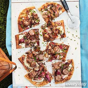 Grilled Sausage & Radicchio Pizza