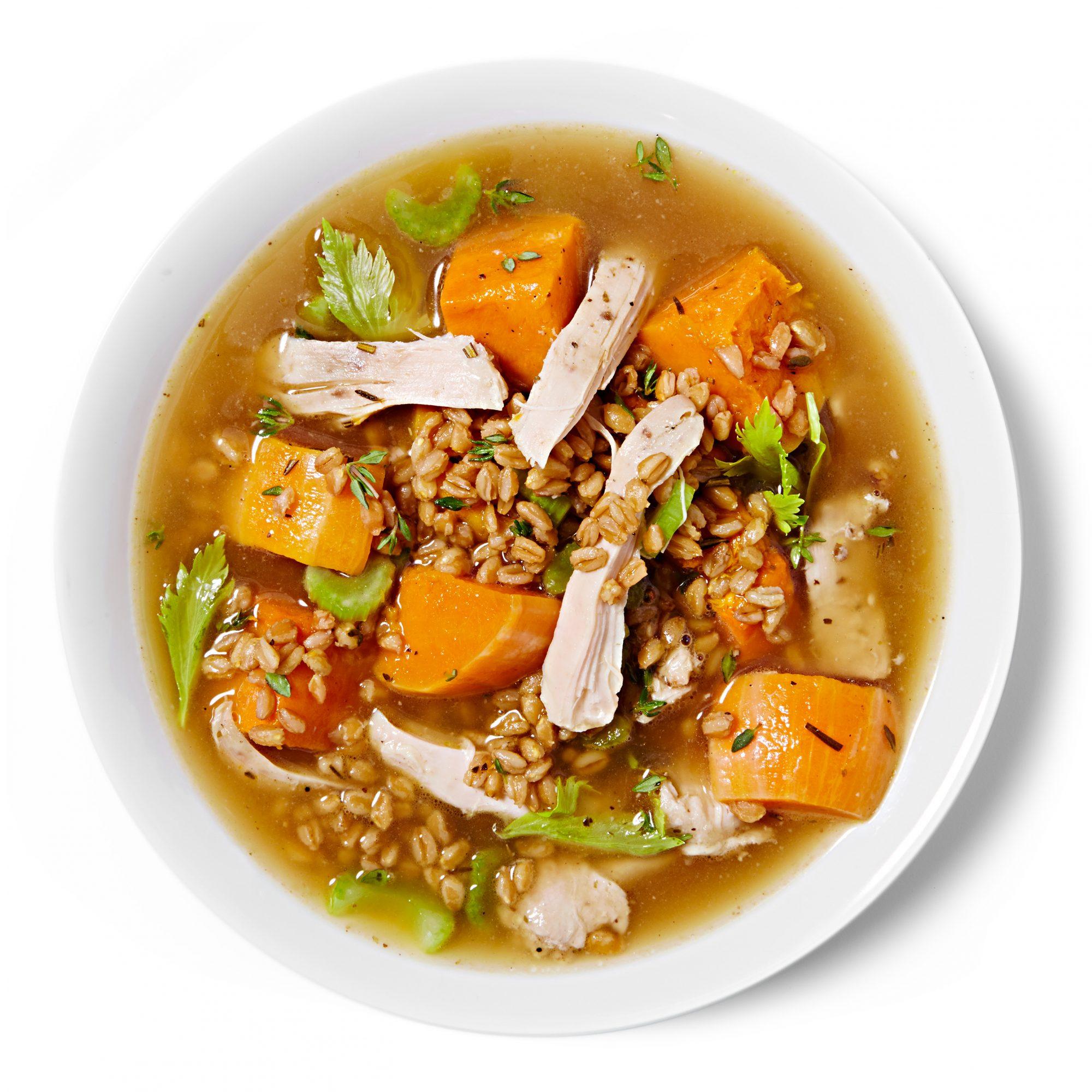 Chicken Soup with Farro & Butternut Squash