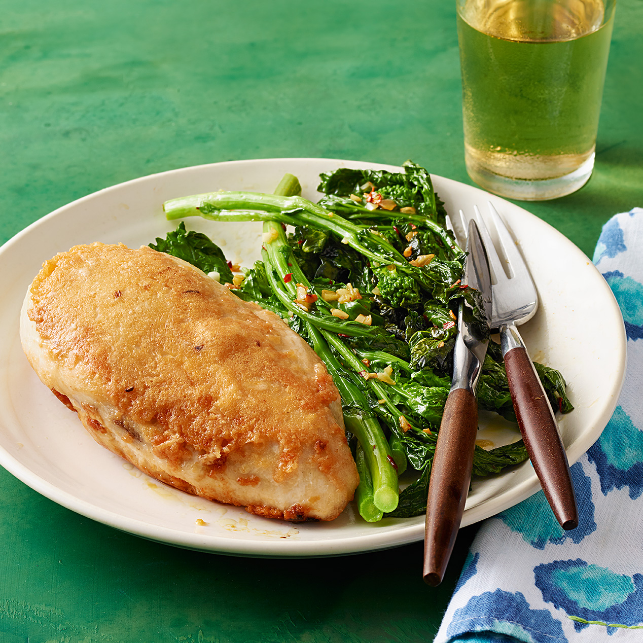 Parm-Crusted Chicken with Broccoli Rabe