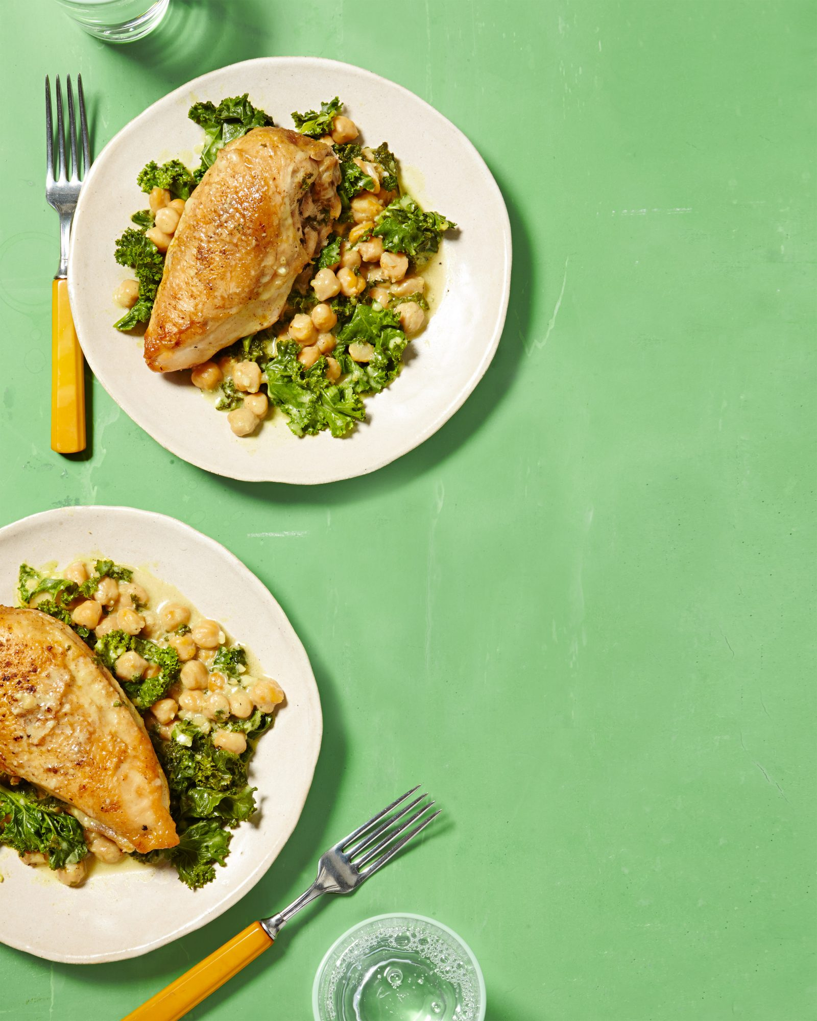 Curried Chicken Breasts with Chickpeas & Kale