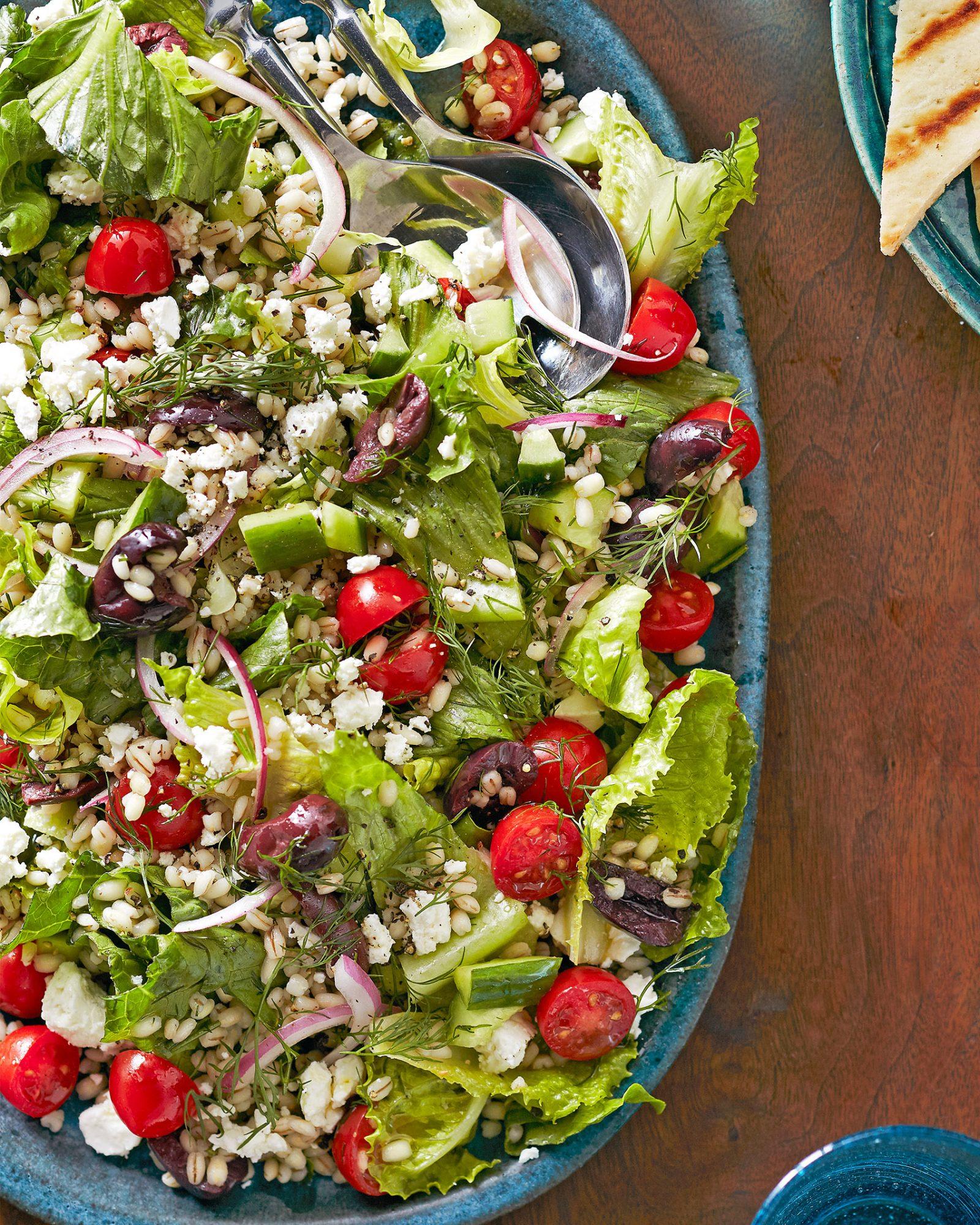 hearty greek barley salad