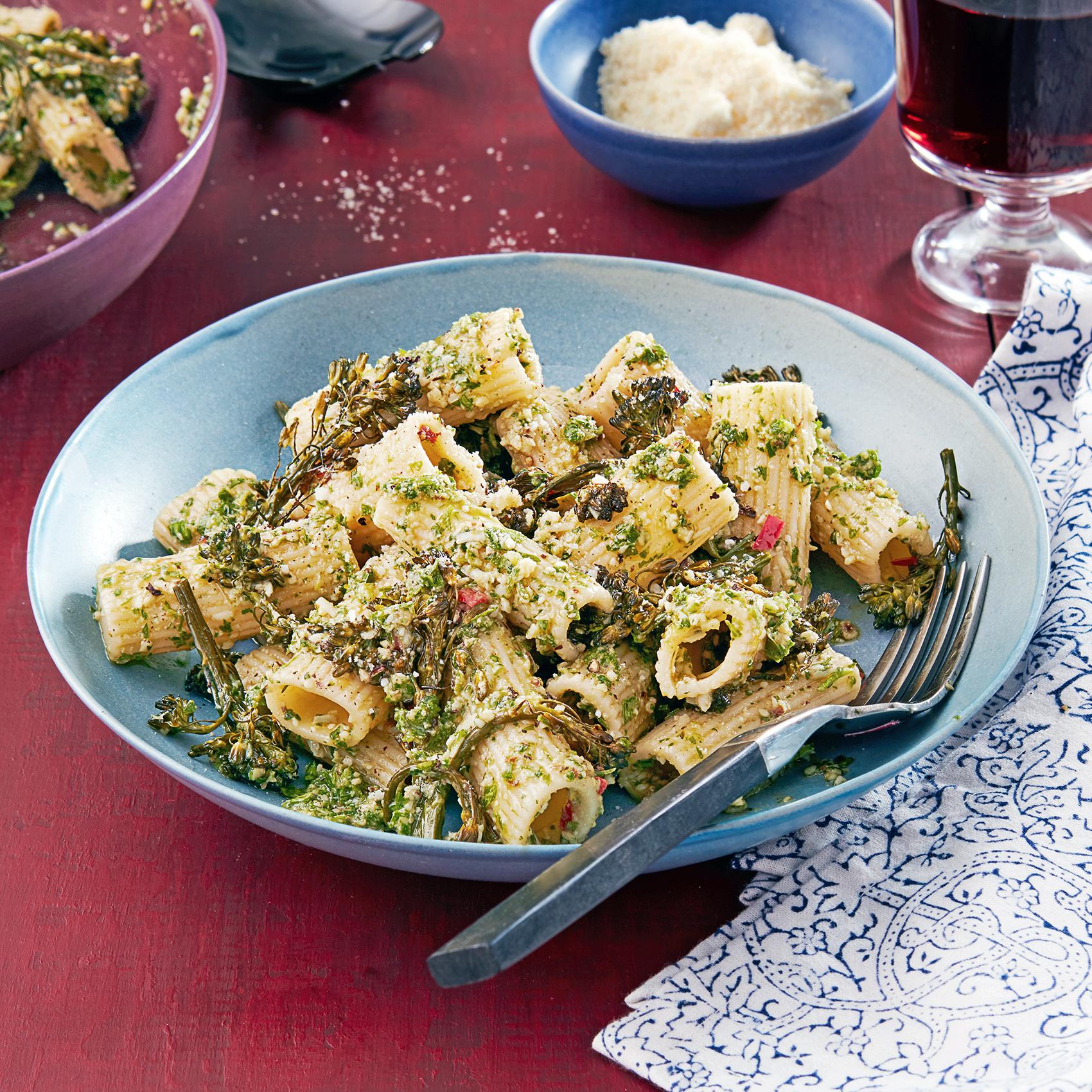 roasted broccolini riggies with walnut pesto