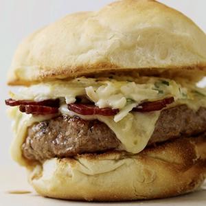 Jerk Pork Cheeseburgers with Green Apple Slaw