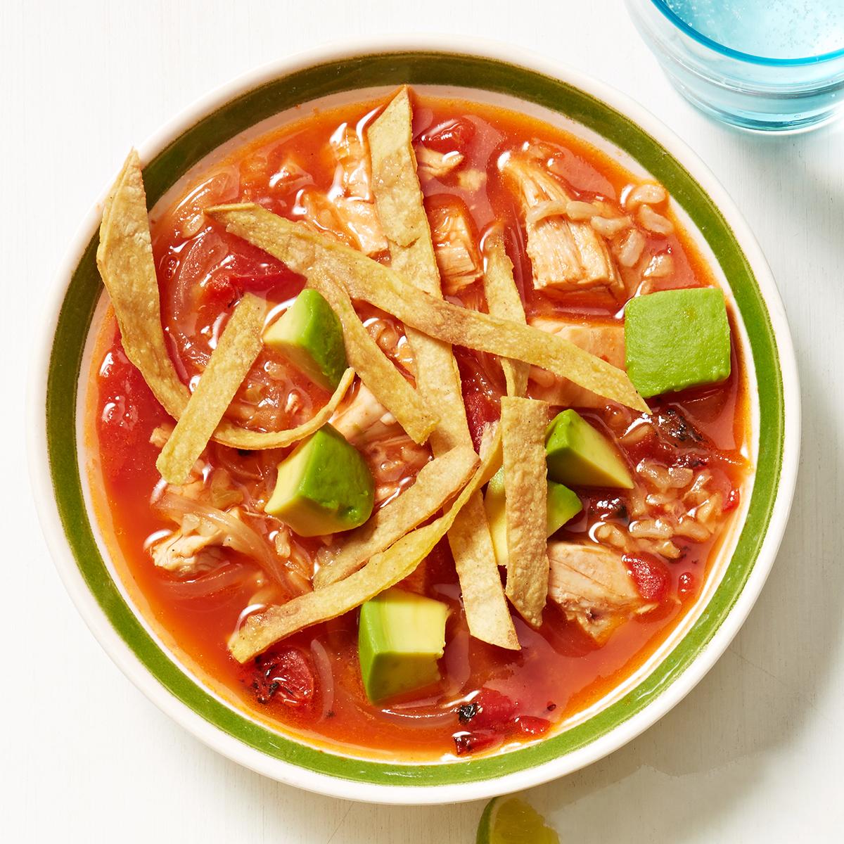 Tortilla Soup with Lime & Avocado