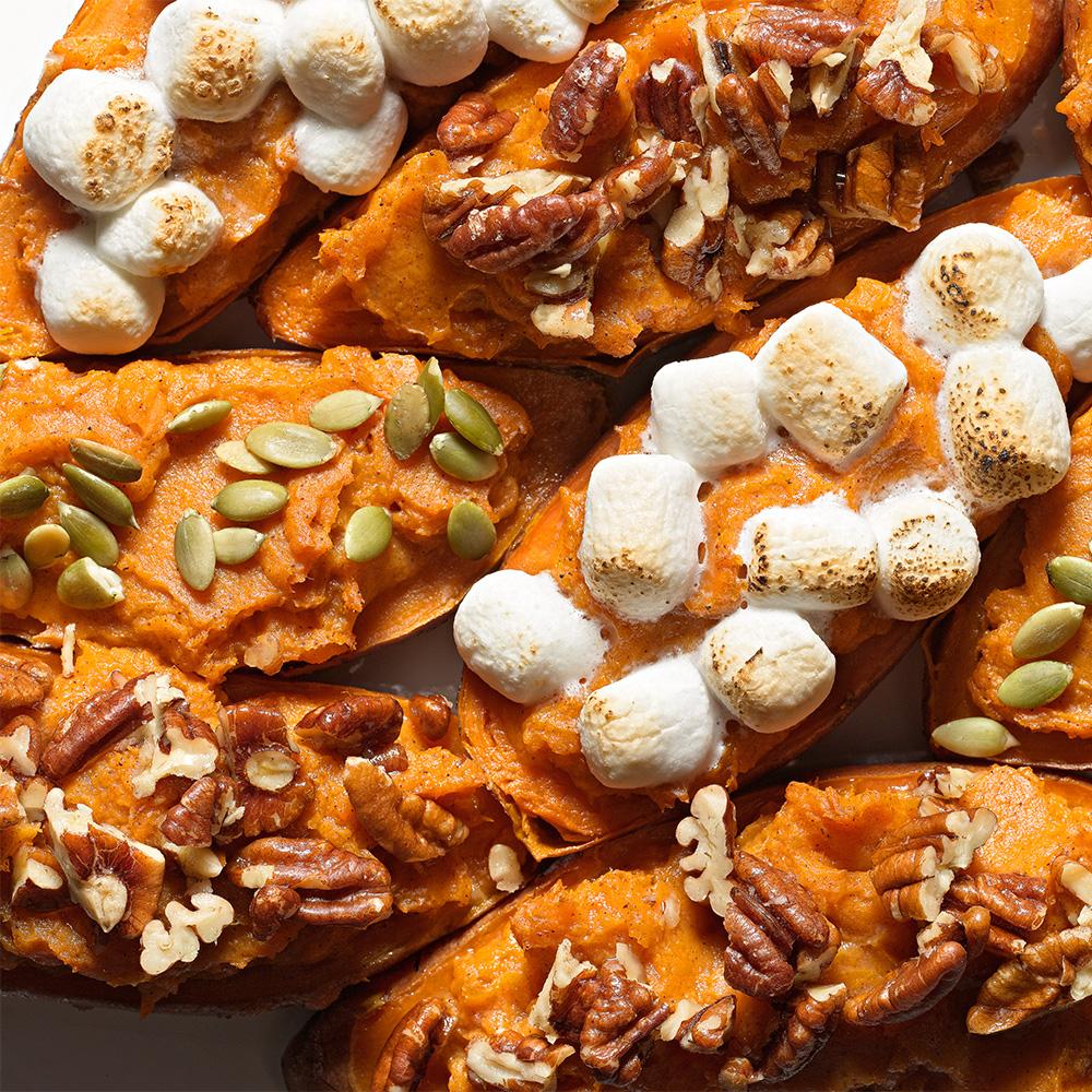 Twice-Baked Sweet Potatoes, Three Ways