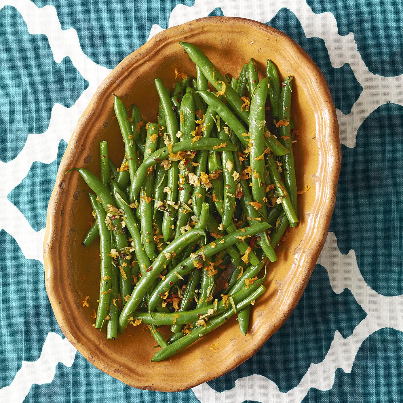 zesty rosemary green beans