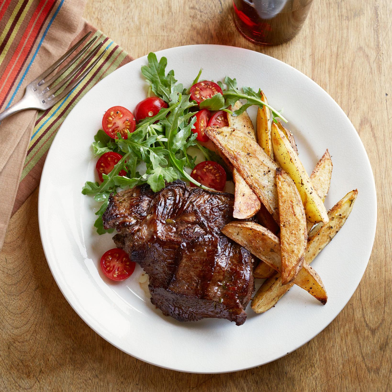 Drunken Steaks with Peppery Oven Fries