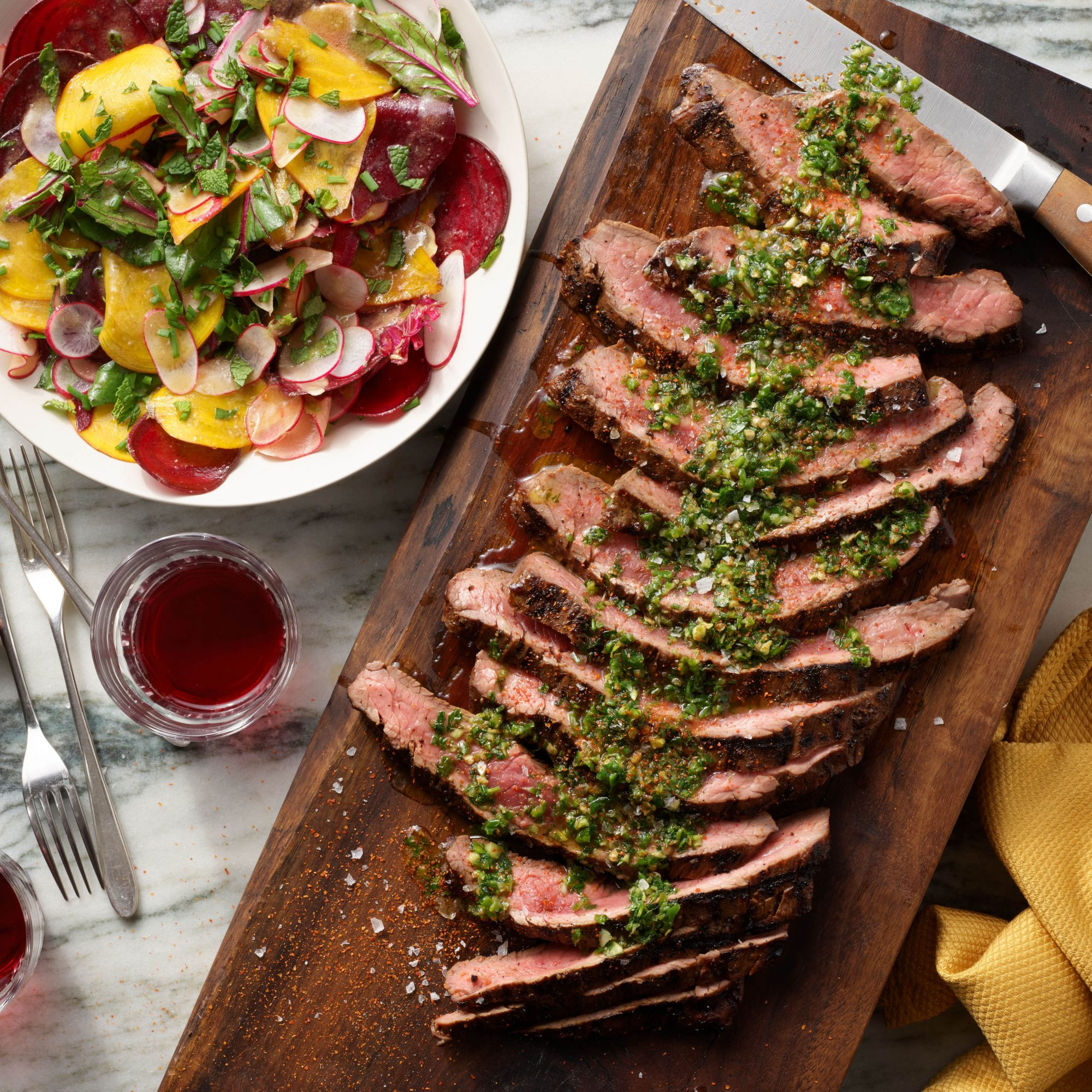 Rachael Ray's Flank Steak with Shishito-Shiso Salsa Verde & Beet Carpaccio