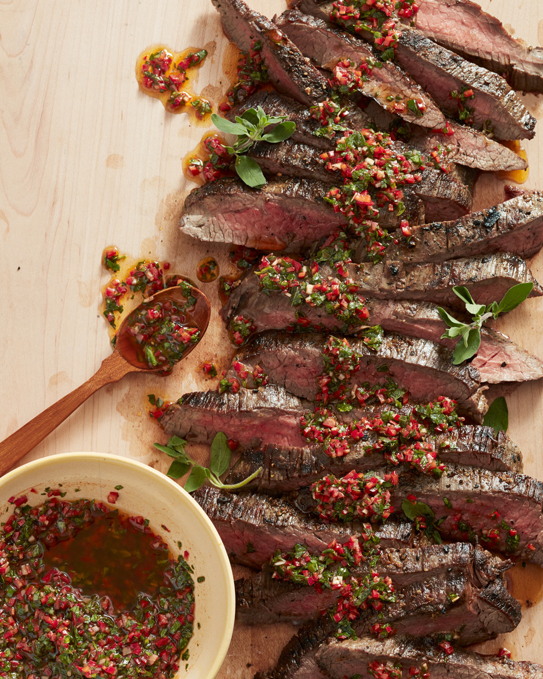 Grilled Flank Steak with Red Chimichurri