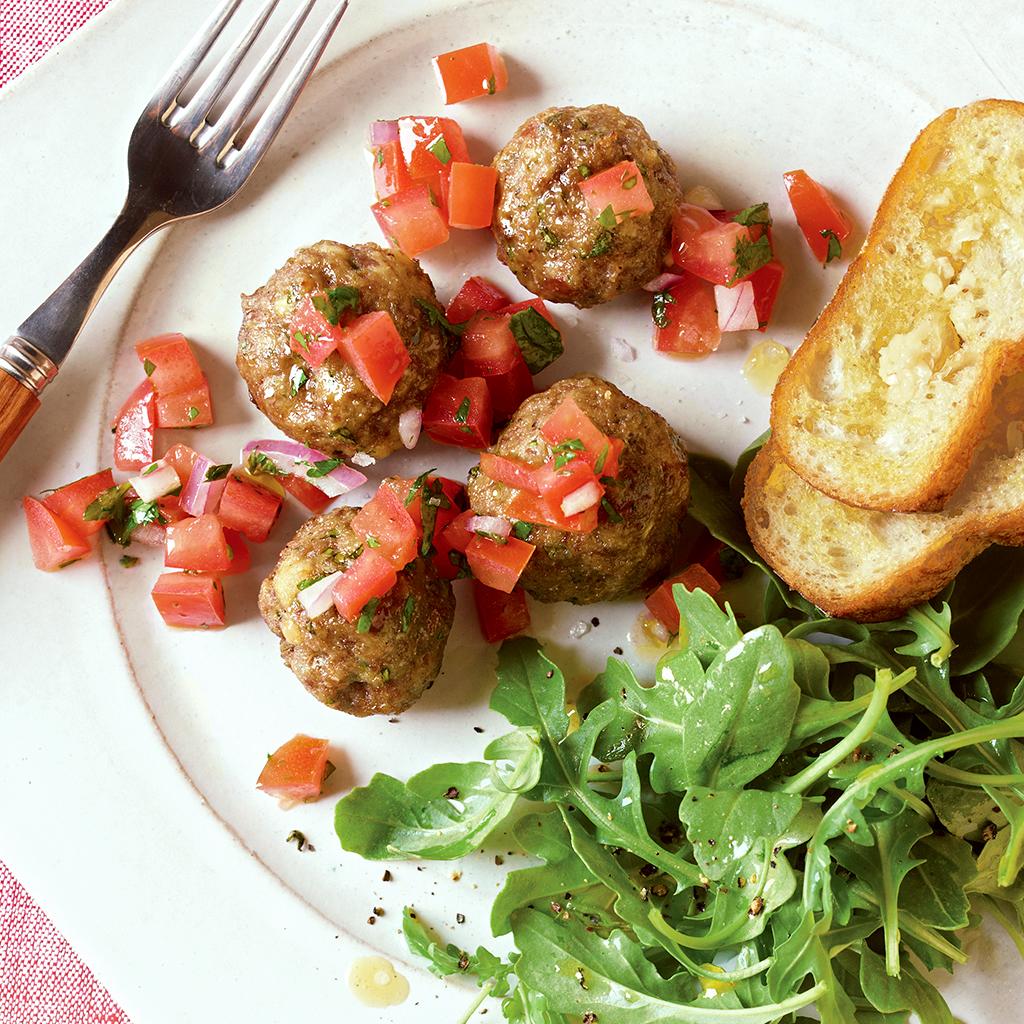 italian meatballs with bruschetta