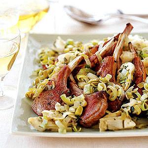Lamb with Leeks 'n' Artichokes and Lemon Rice