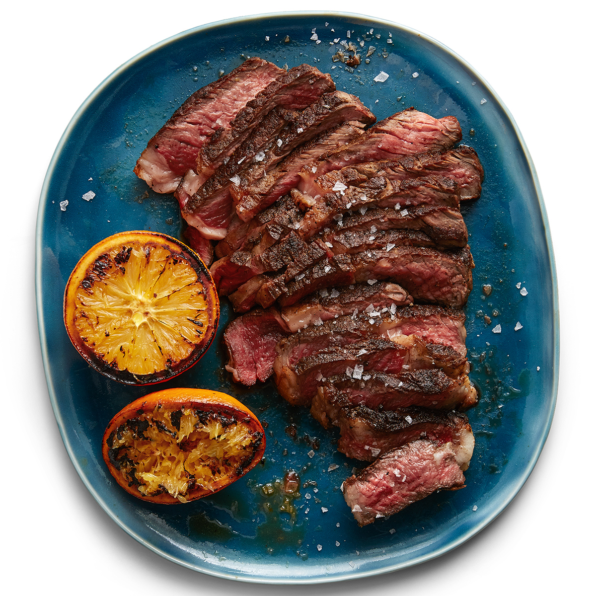moroccan spiced steak with charred oranges