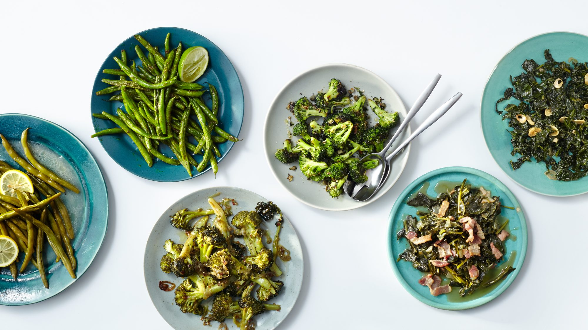 green bean broccoli and collard vegetable side dishes
