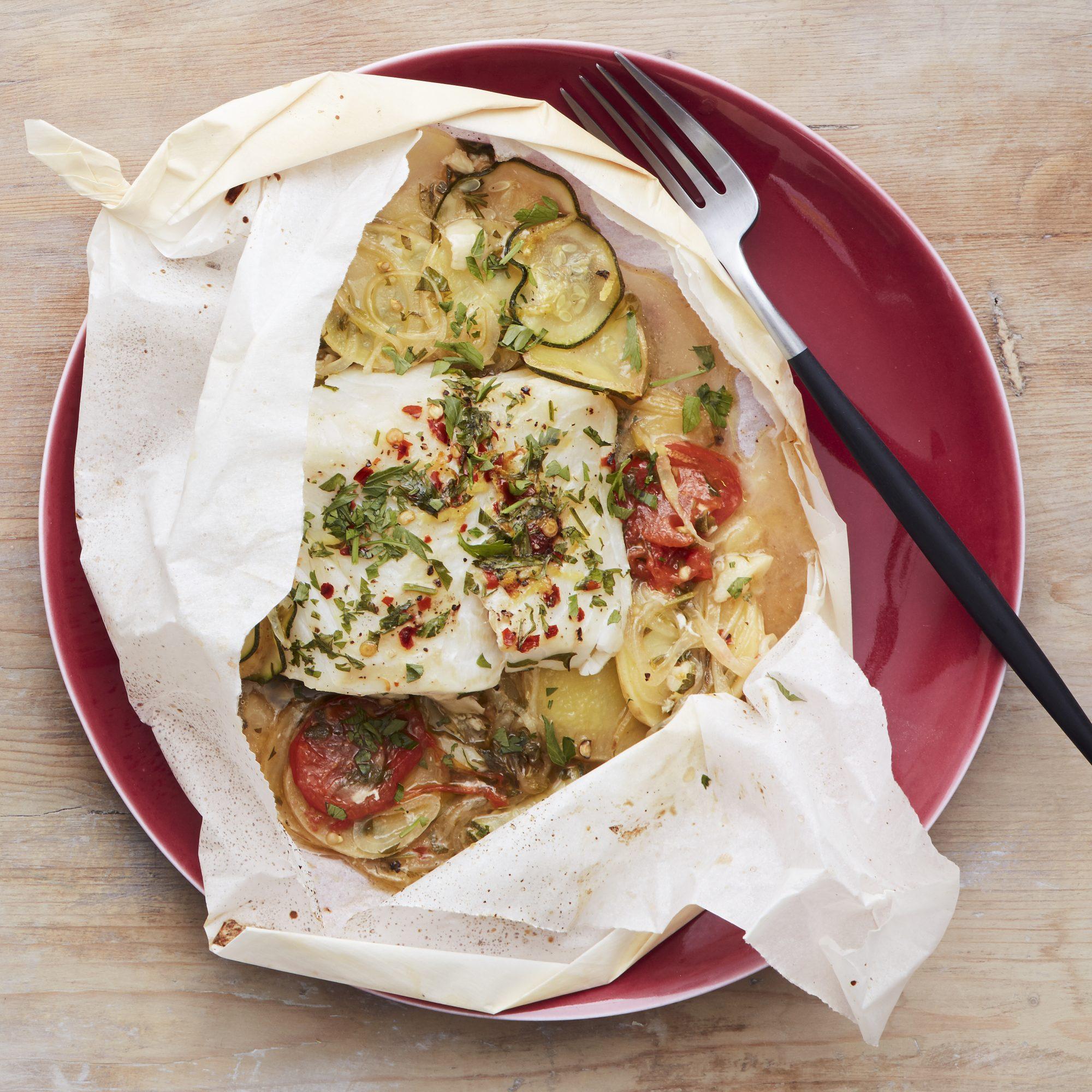 fish in parchment with potato zucchini onions
