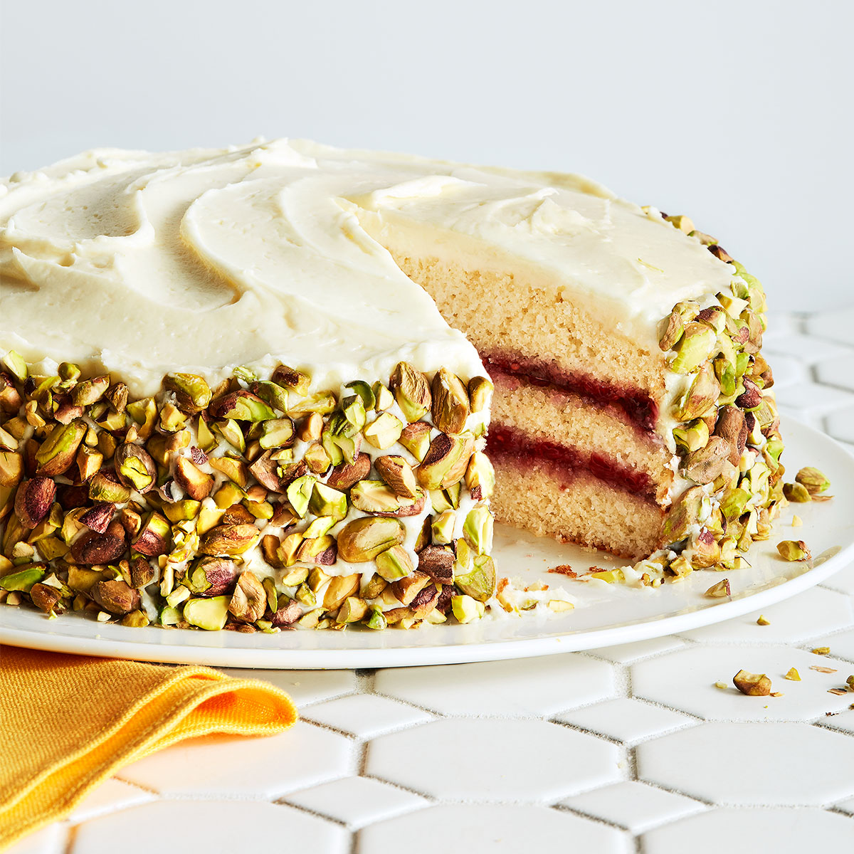 Gluten-Free Layer Cake with Jam & Pistachios