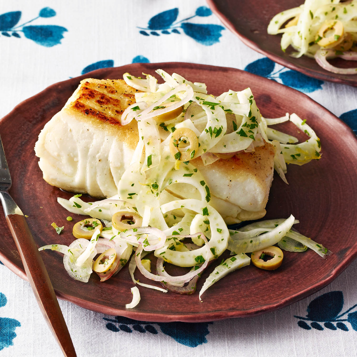 Seared Halibut with Fennel-Olive Salad