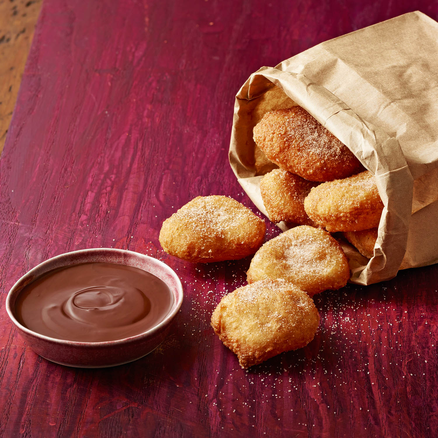 Spiced Italian Fritters with Chocolate Sauce