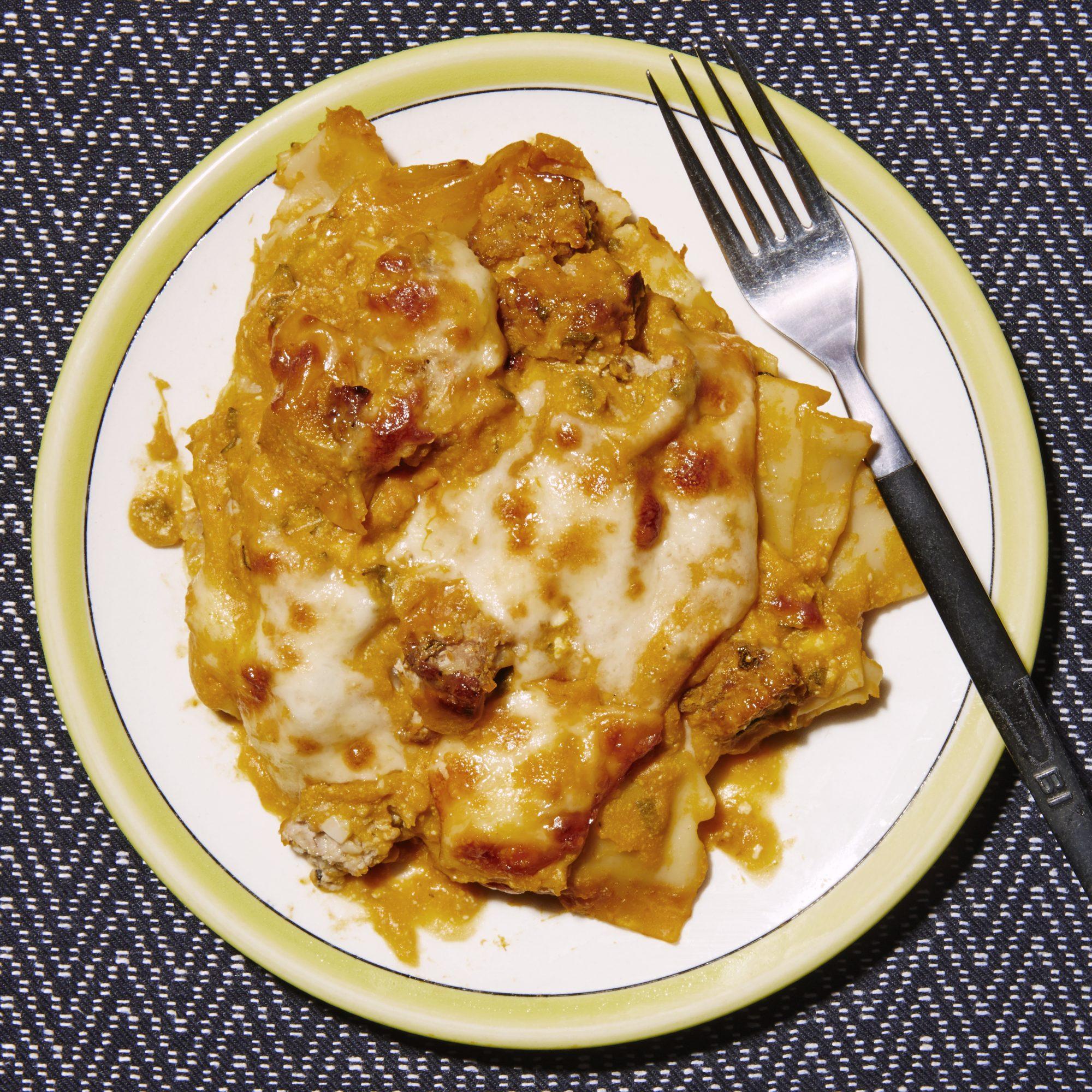turkey pumpkin skillet lasagne