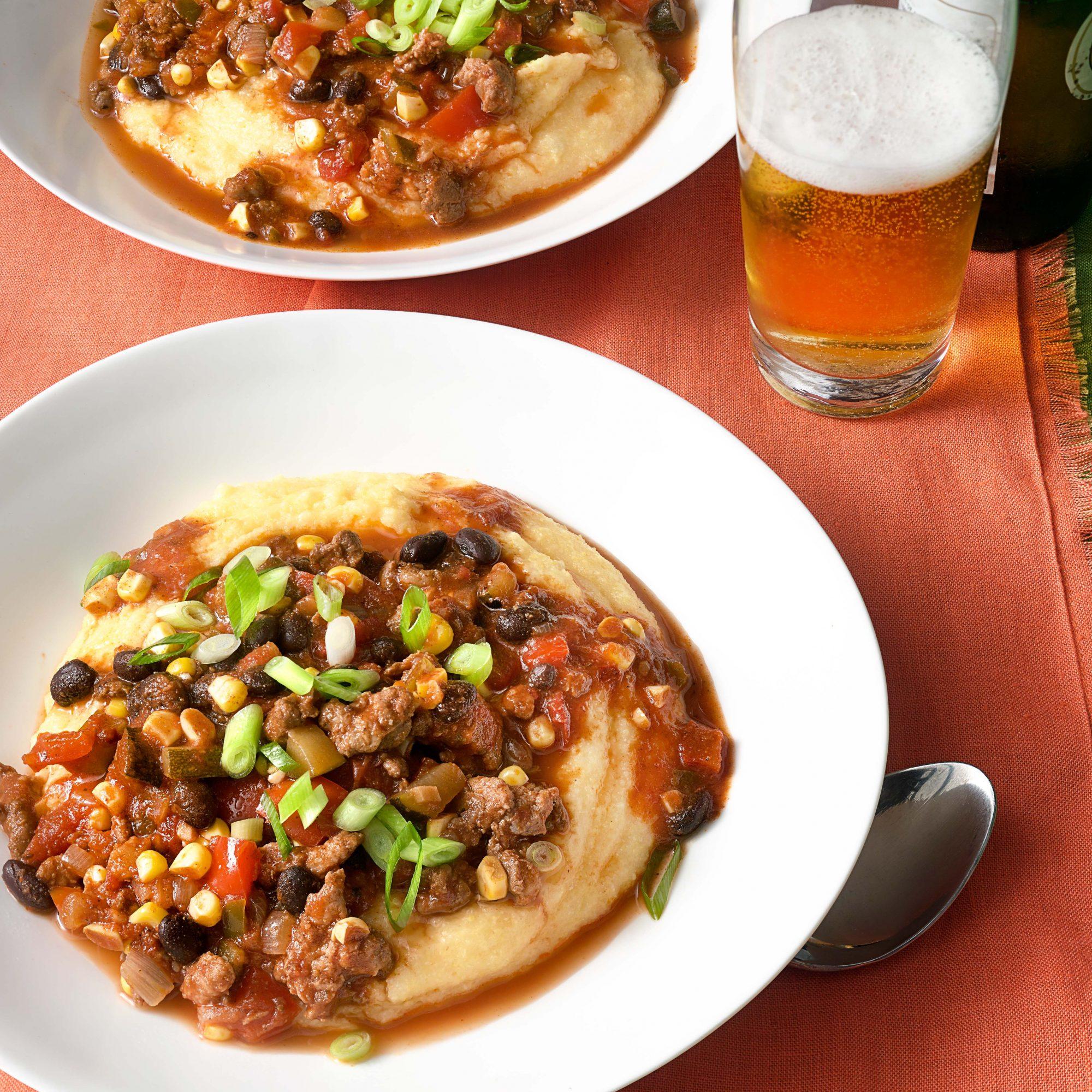Chorizo & Vegetable Chili in Cheesy Polenta Bowls