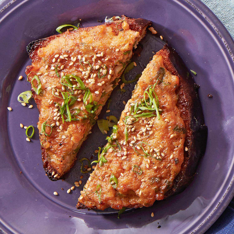 baked brioche shrimp toasts