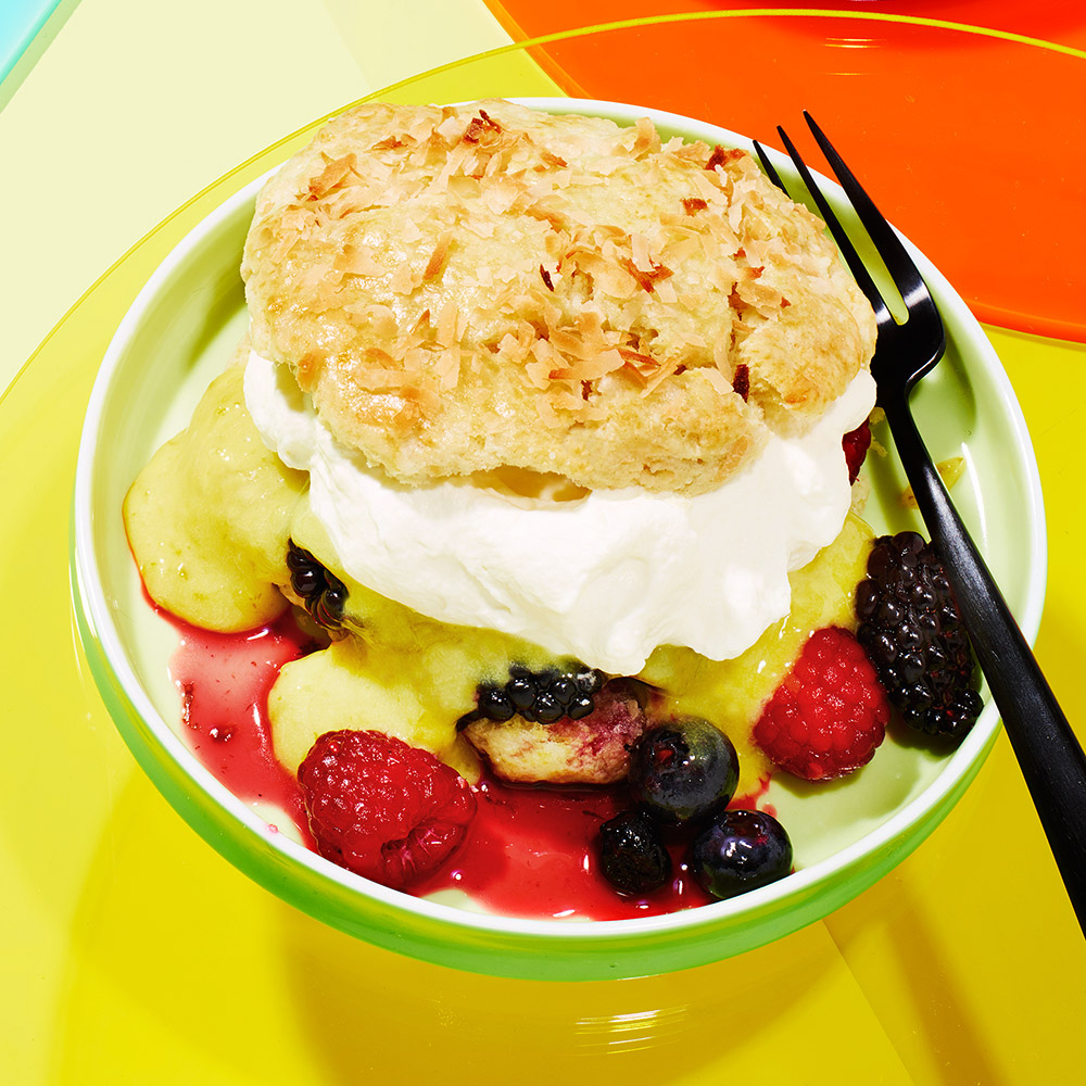 coconut shortcake lime curd mixed berry