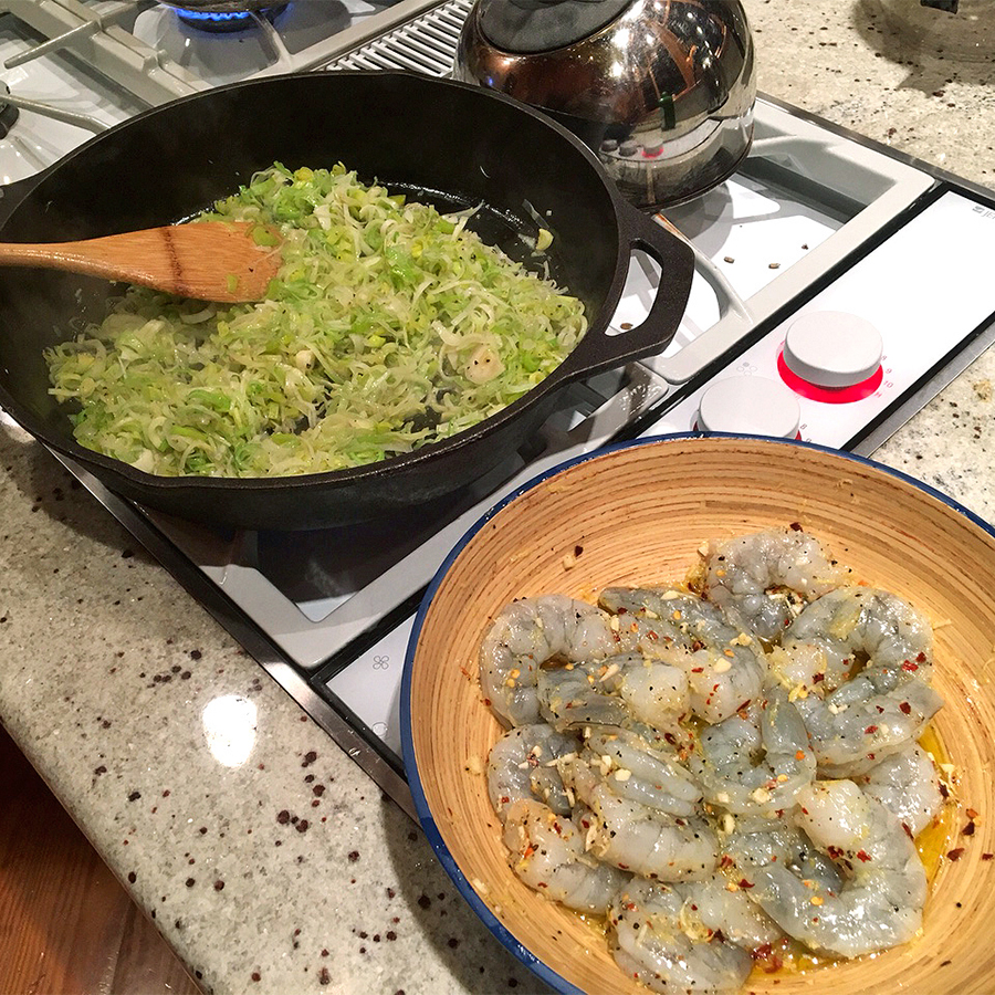 Cooking Leeky Linguine with Shrimp