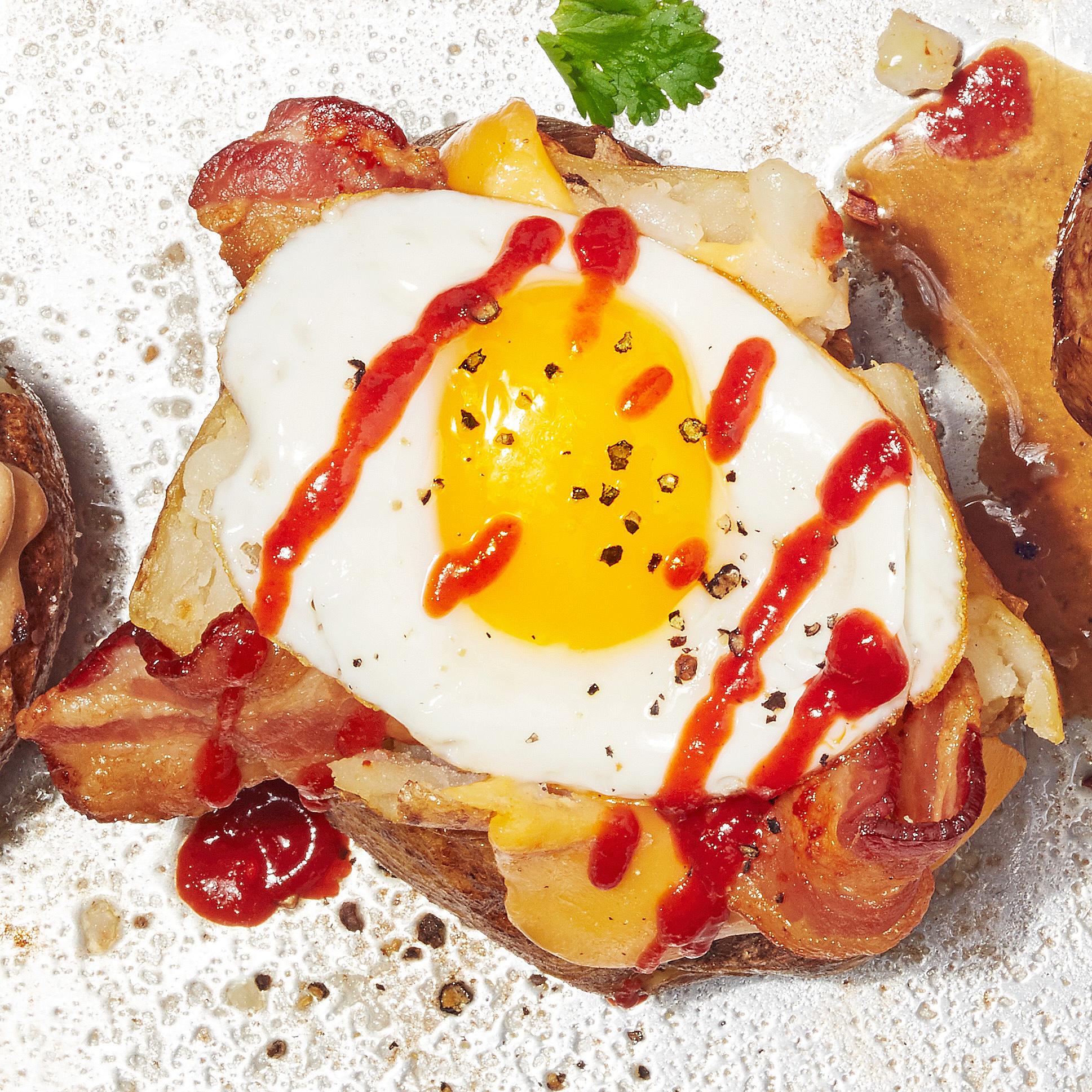 spicy breakfast sammie baked potato