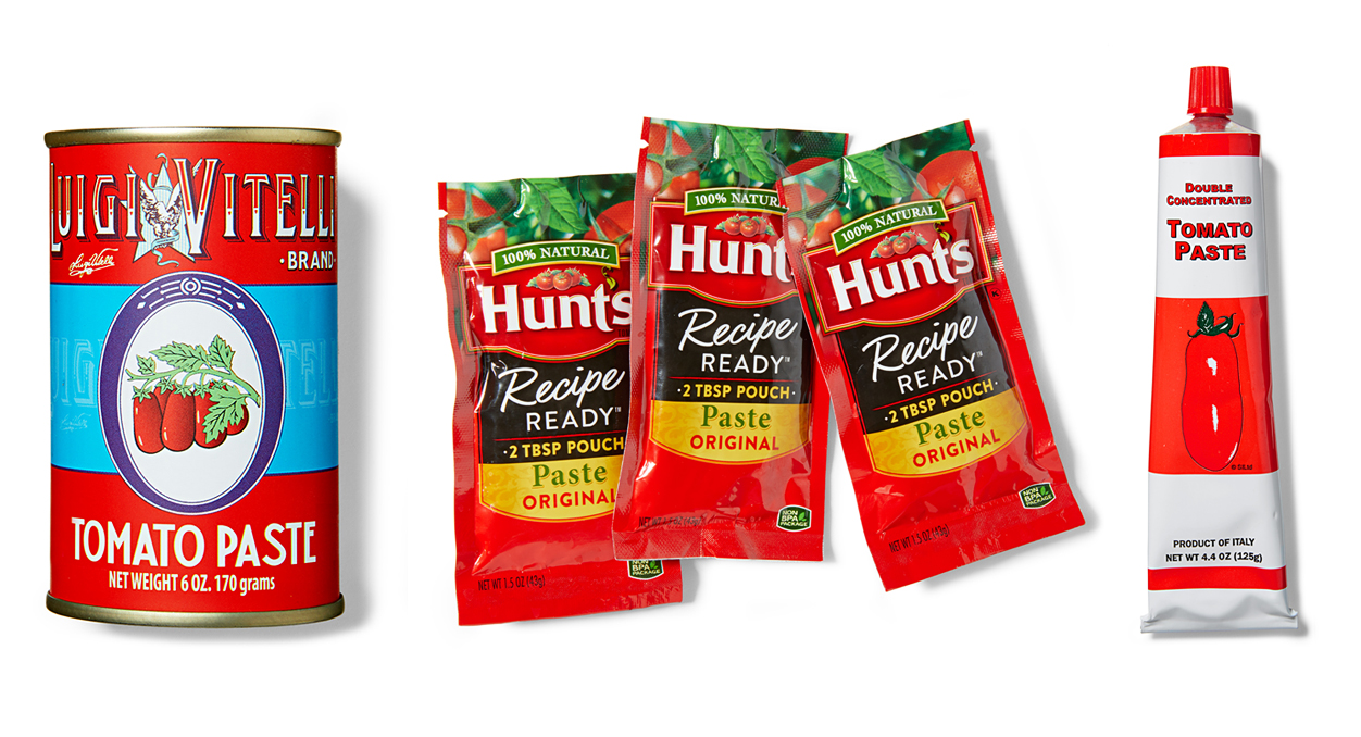 tomato paste can packet tube red