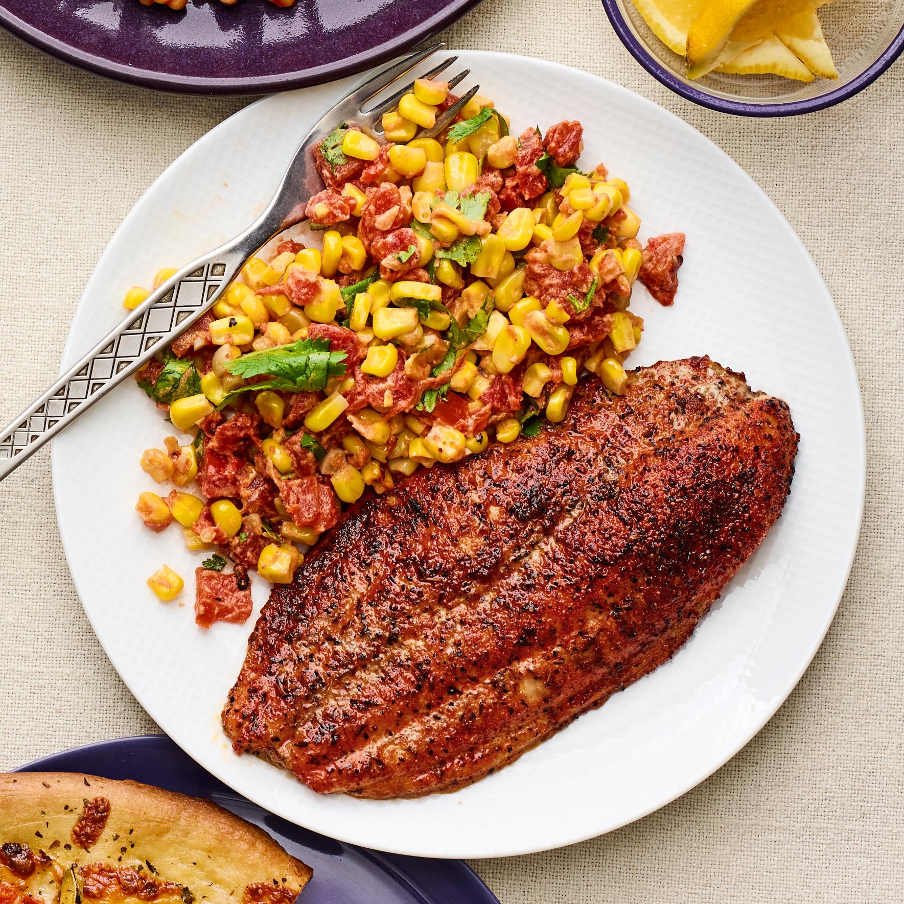 cajun catfish with corn sauté
