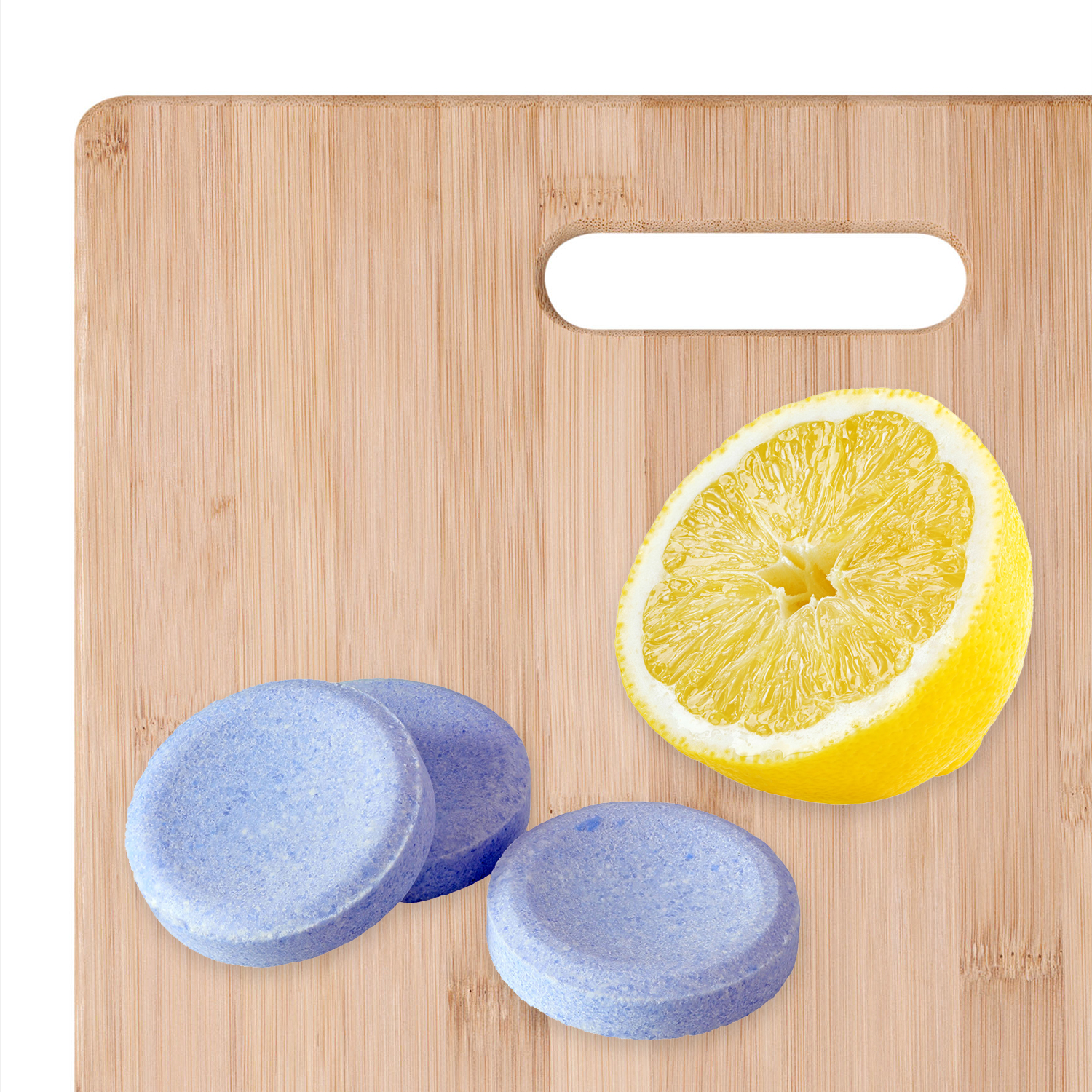 cutting board with lemon and tablets