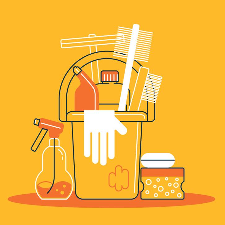 cleaning supplies orange illustration