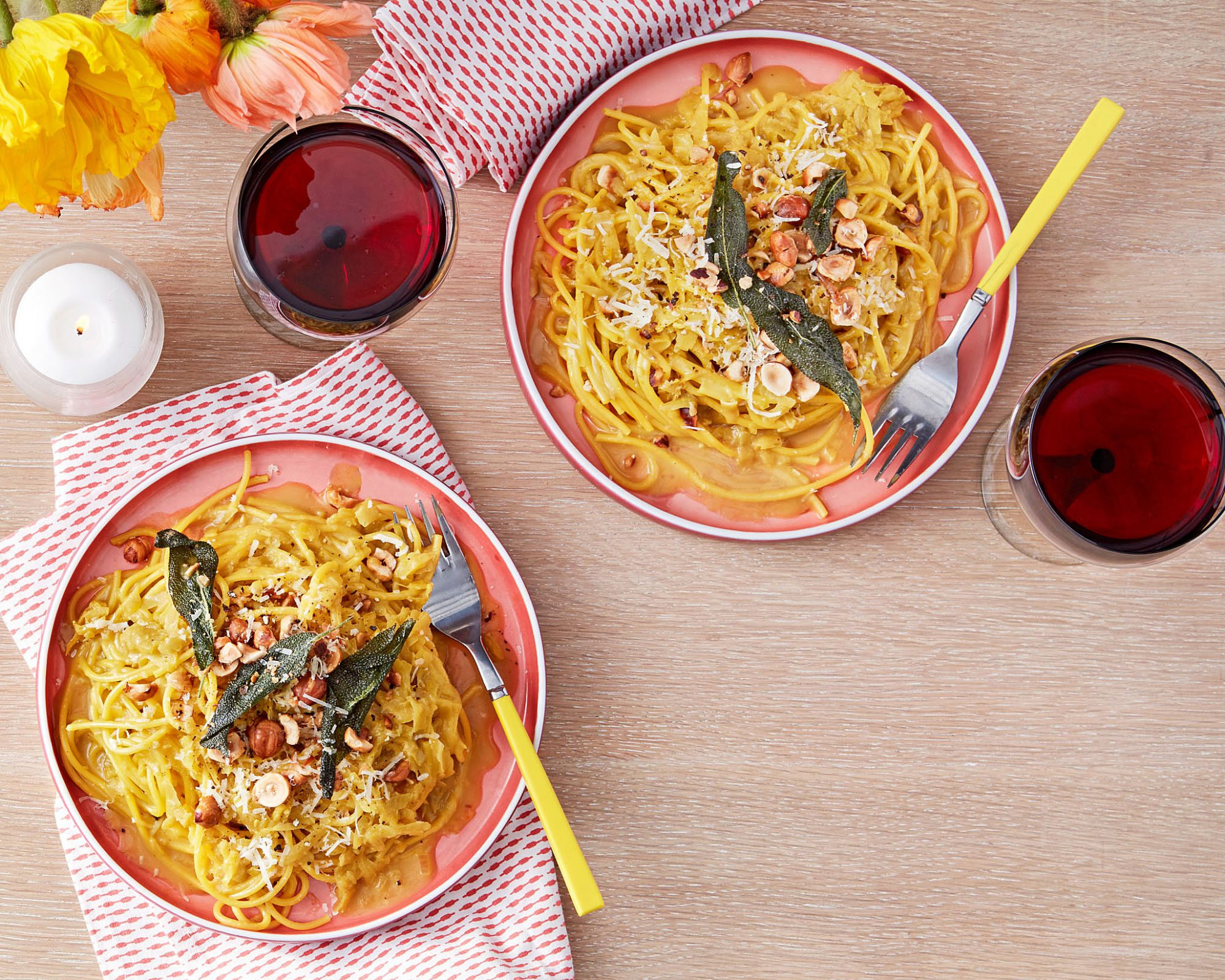 Drunken Tuscan Spaghetti with Golden Beets, Brown Butter & Hazelnuts