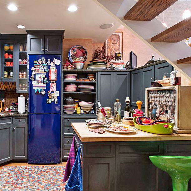 kitchen island blue refrigerator