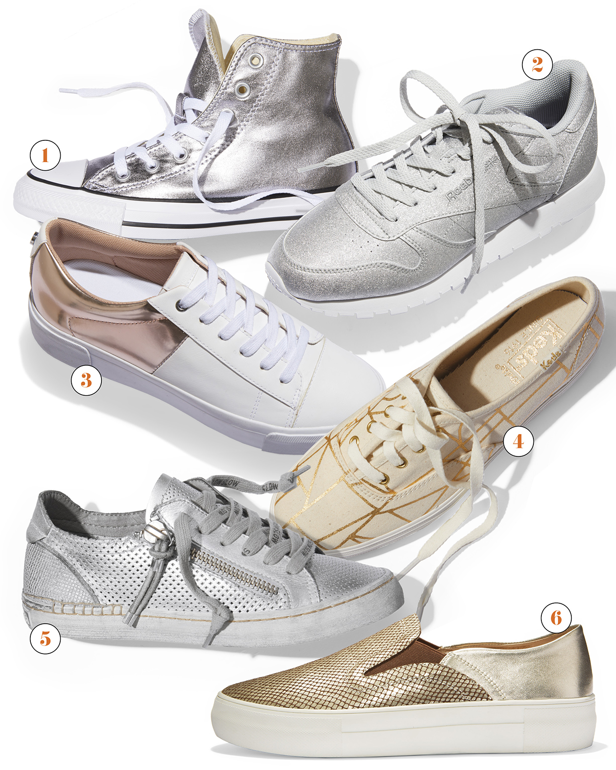 neutral metallic gold silver sneakers shoes