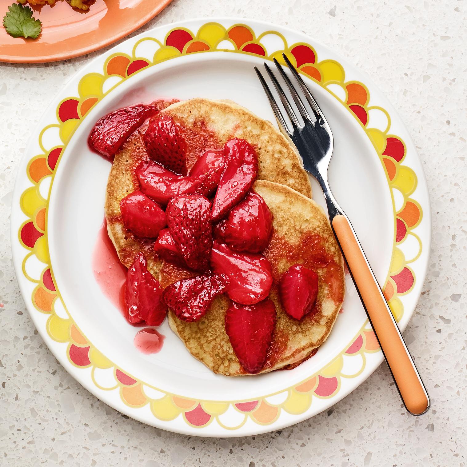 pancakes with roasted strawberries