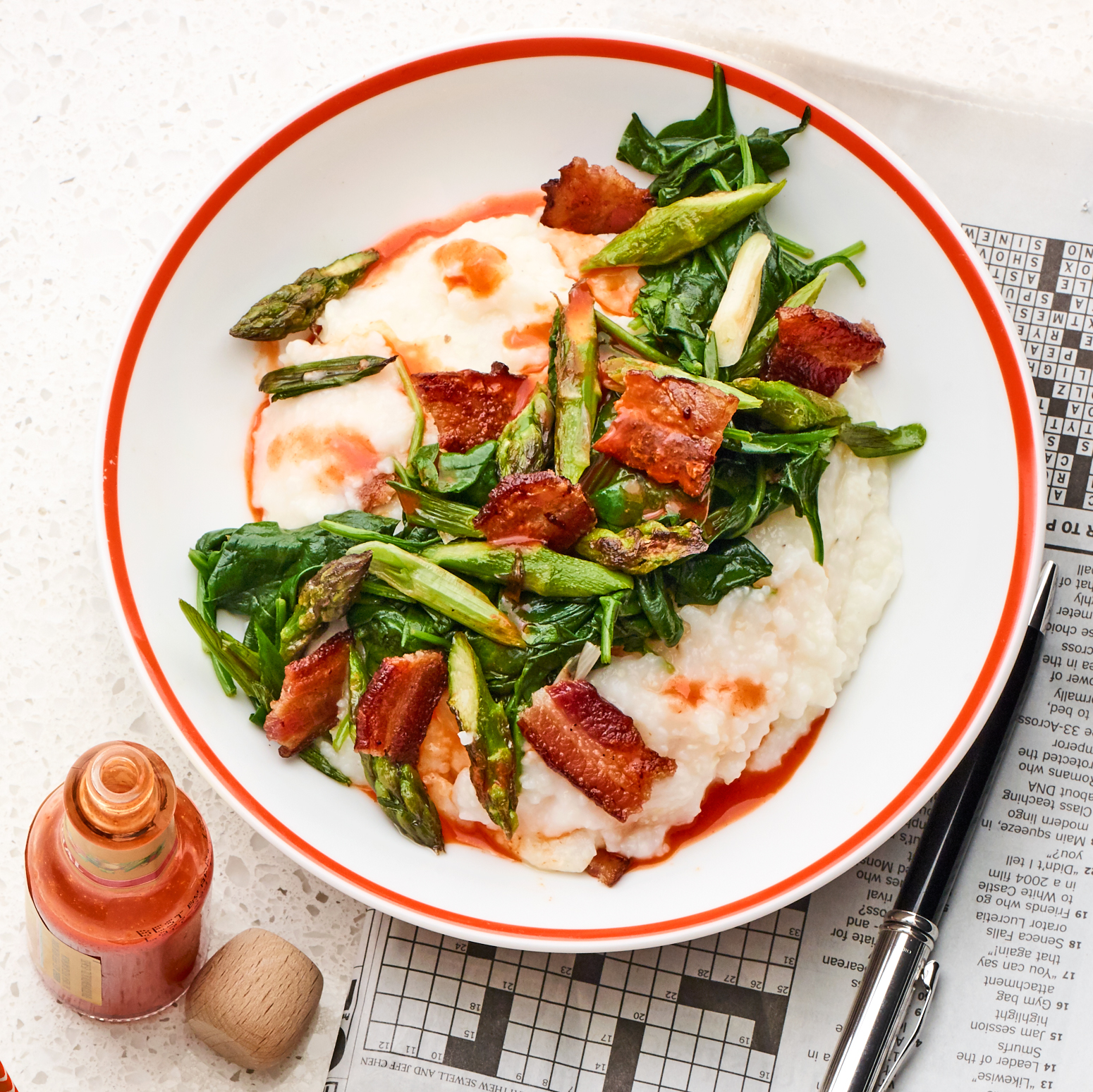 parm grits with asparagus & bacon