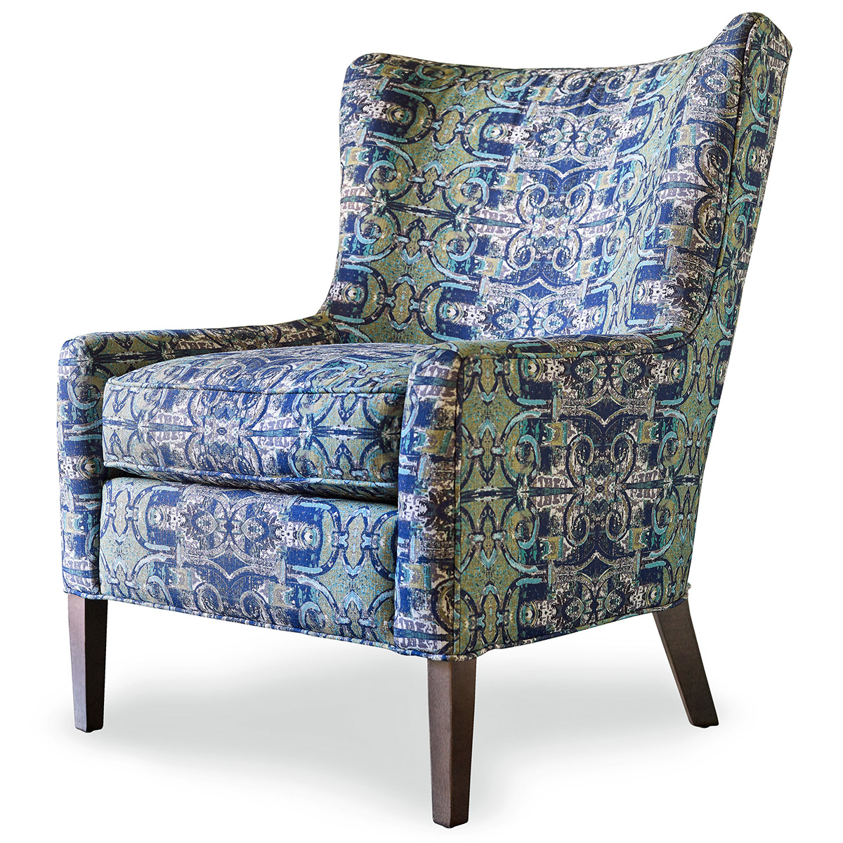 patterned chair blue