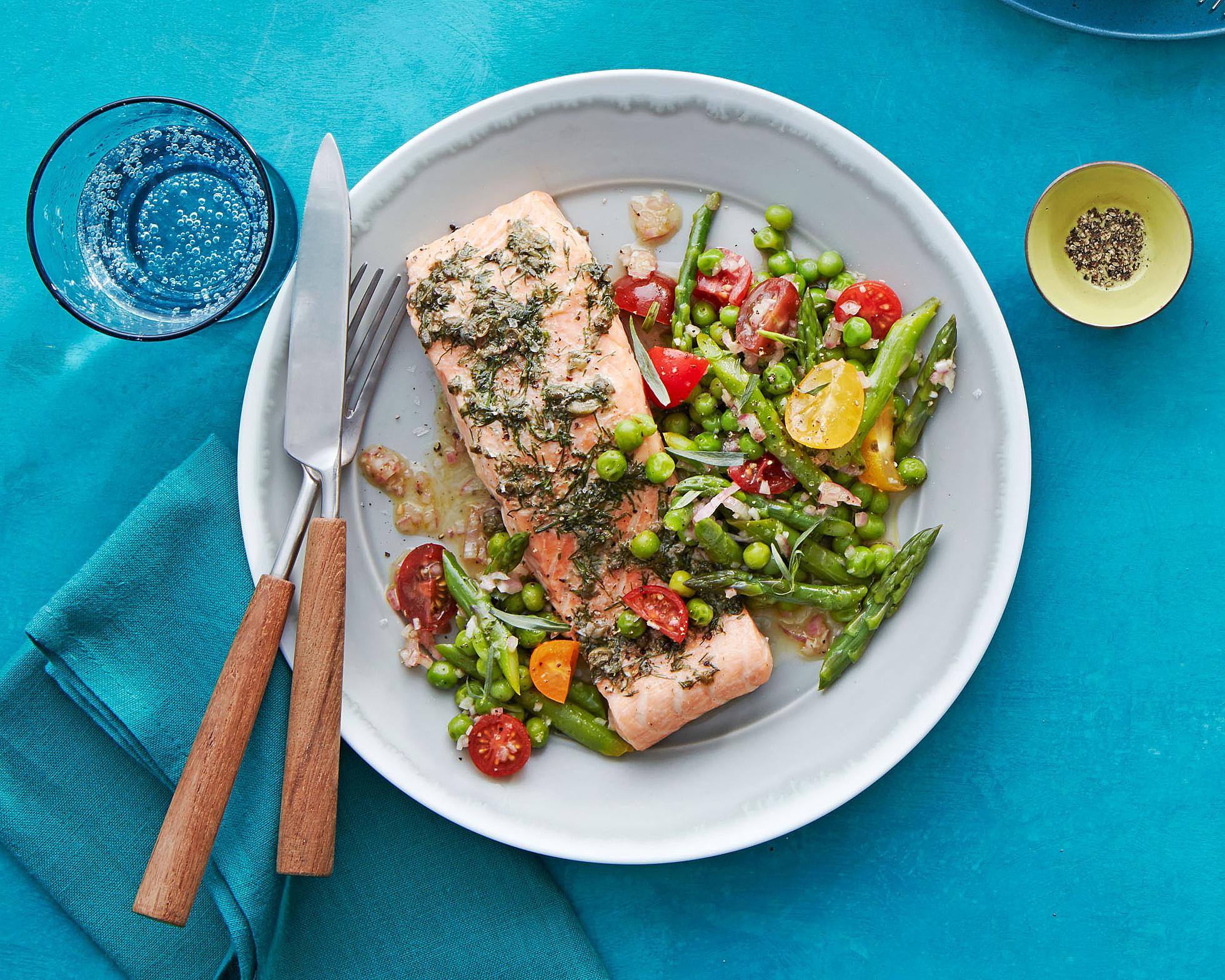 Spring Salmon with Asparagus & Peas