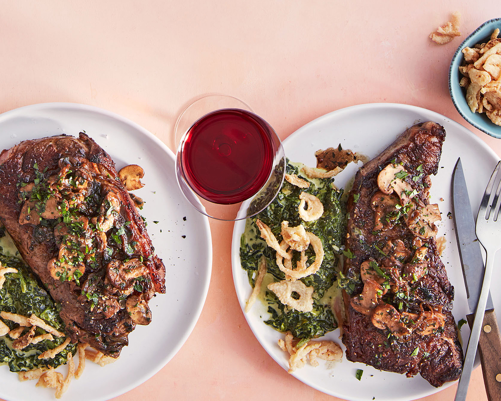 Steaks with Sherry 'Shrooms, Creamed Spinach & Crispy Onions