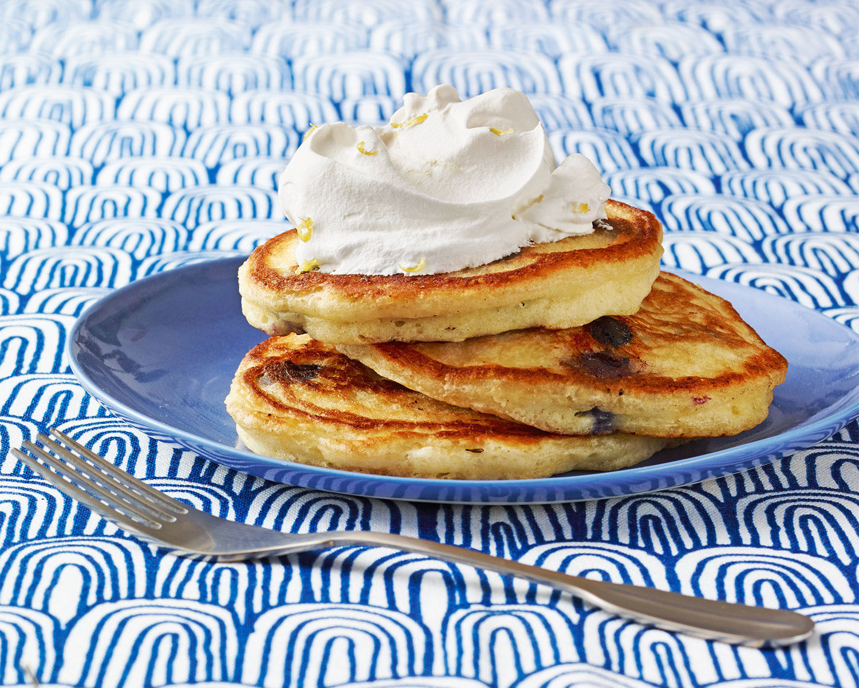 blueberry ginger pancakes with lemon cream