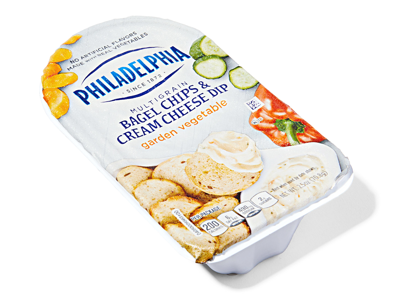 Philadelphia Garden Vegetable Bagel Chips and Cream Cheese Dip