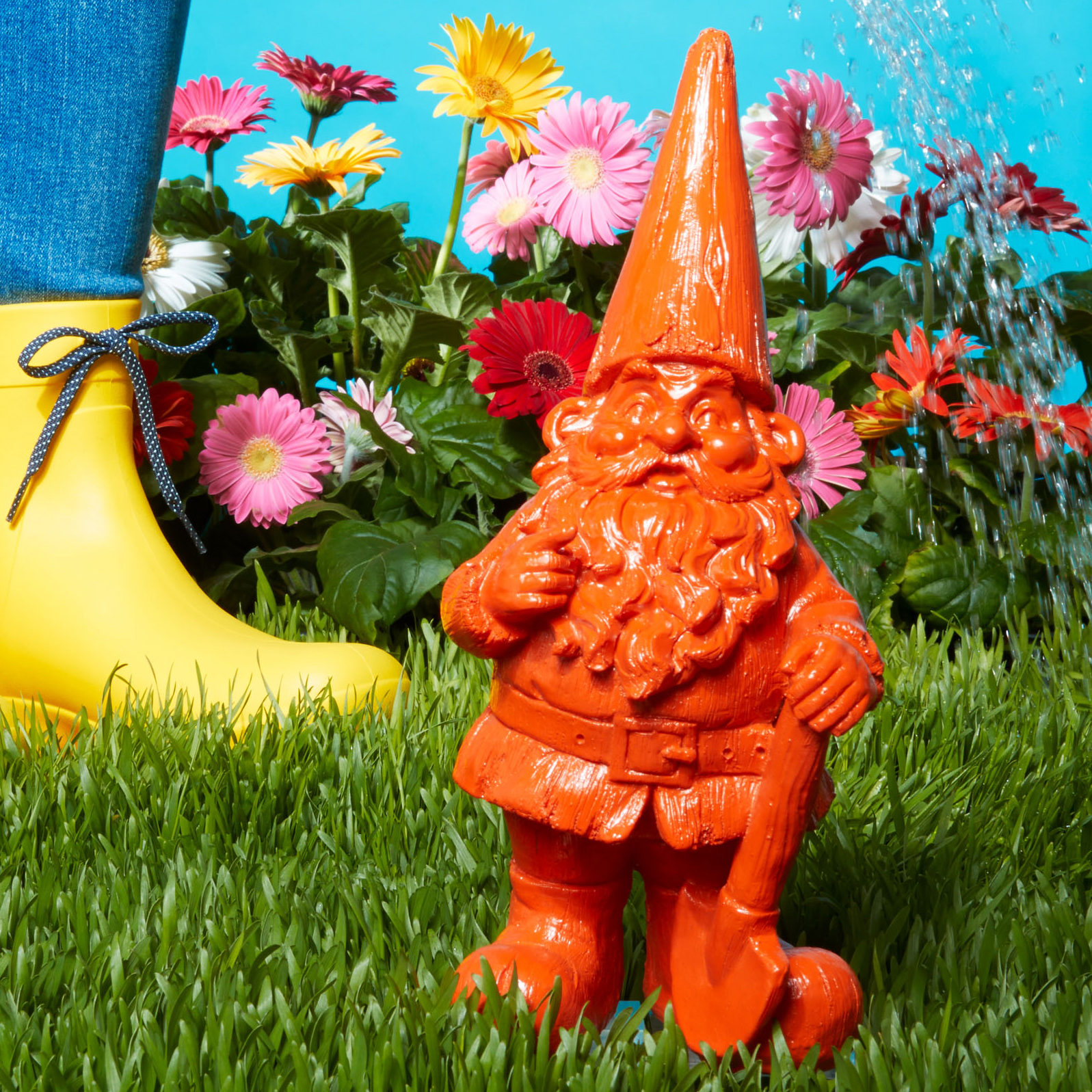 colourful gnome trio