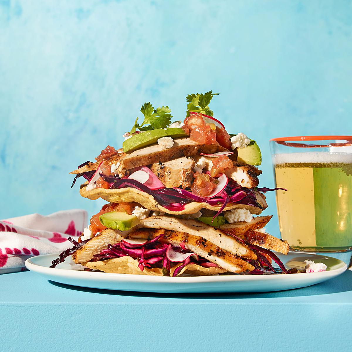 Stacked Chicken Tostada Salad